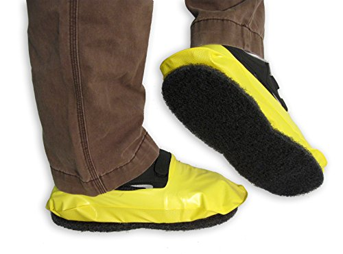 PAWS 13034 Reusable Waterproof Vinyl Shoe Covers with Traction Pad, X-Large, Yellow (Pack of 12) by Paws Inc. (Image #1)