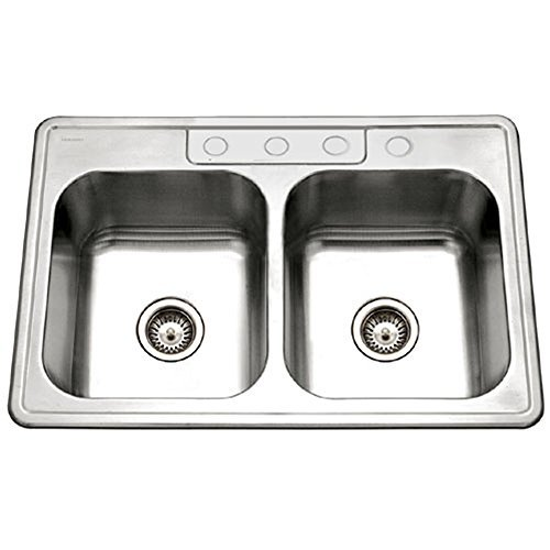 Houzer 3322-9BS4-1 Glowtone Double Bowl Drop-In Stainless Steel Sink, 33-by-22-by-9-Inch by (1 Glowtone Double Bowl)