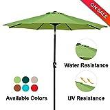 LCH 9Ft 8 Ribs Patio Umbrella Backyard Garden Aluminum Umbrella Sturdy Pole Strong Tilt Easy Crank Open, Light Green For Sale