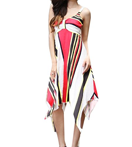 Pleated Simple Strap Printed With Dress Plus Coolred Pattern1 Garden Women Size Irregular Party ZqUaUYw