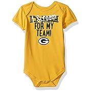 NFL Newborn Team Scream  Short Sleeve Onesie-Gold-3 Months, Green Bay Packers