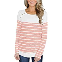 YunJey Womens Long Sleeve Button Decor Color Block Patchwork and Striped Tops Blouses Casual T Shirts Sweaters Sweatshirts