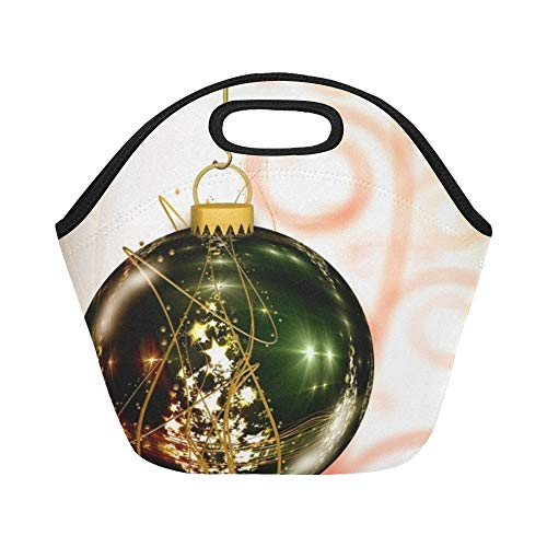 Insulated Neoprene Lunch Bag Christmas Ornament Ball Christmas Atmosphere Advent 513563 Large Size Reusable Thermal Thick Lunch Tote Bags For Lunch Boxes For Outdoors,work, Office, School