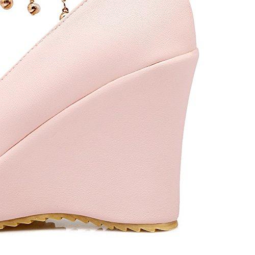 PU Solide VogueZone009 Rosa Frauen Zehe High Pumps Schuhe Geschlossene Runde Heels Schnalle YxOq1wXUO