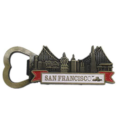 San Francisco America USA Fridge Magnet Bottle Opener 3D Metal Handmade Craft Tourist Travel City Souvenir Collection Letter Refrigerator Sticker