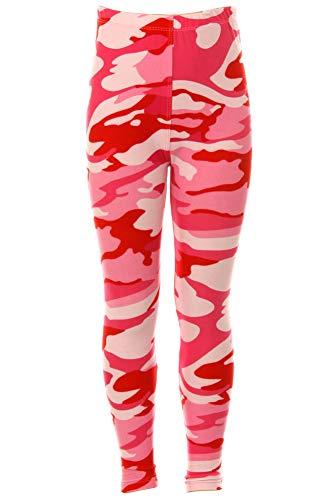 (iZZYZX Kid's Pink Camouflage Army Pattern Printed Leggings - S/M)