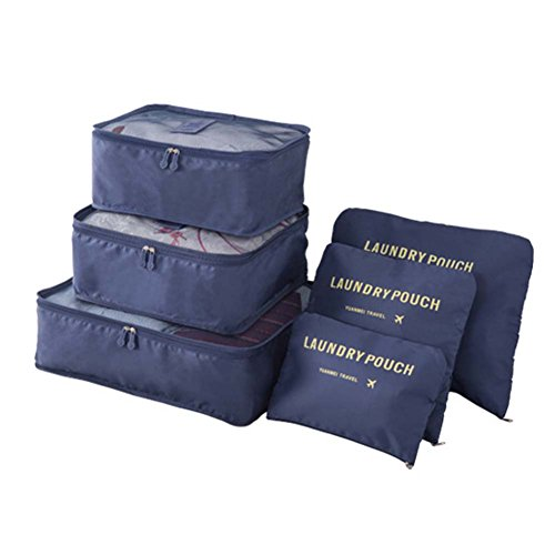 6pcs Packing Cubes Set Travel Organizer Waterproof Luggage Storage Bag Laundry Pouch for Travel or Camping (Navy Blue)