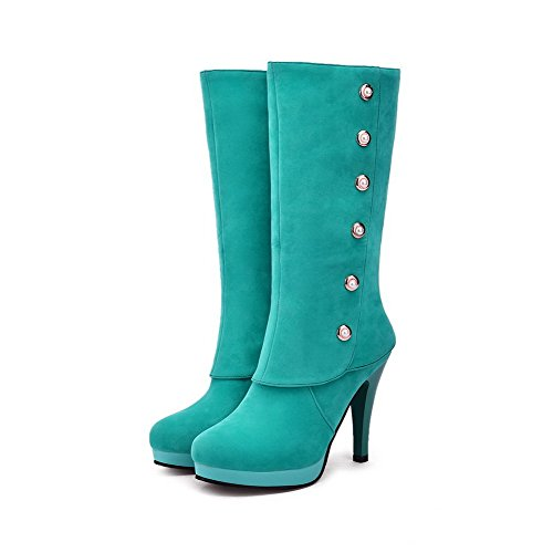 Solid Boots Women's Toe Green Mid Round AgooLar Closed High Frosted top Heels z6vvwqd