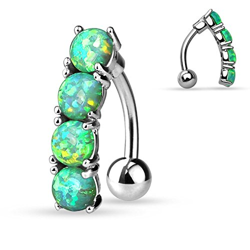(Inspiration Dezigns 14G 10mm Drop Top Down Green Opal Set 316L Surgical Steel Navel Ring )