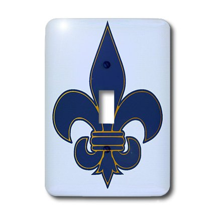 3dRose Lsp_22361_1 Large Navy Blue and Gold Fleur De Lis Christian Saints Symbol Single Toggle Switch