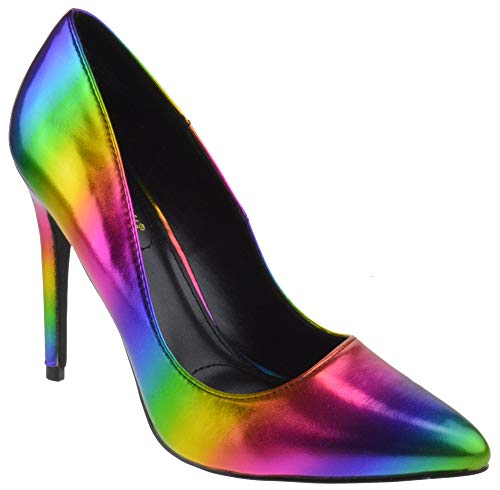 Anne Michelle Hibiscus 26 Womens Classic Stiletto Heel Pointed Toe Pumps Rainbow Metallic 8 ()