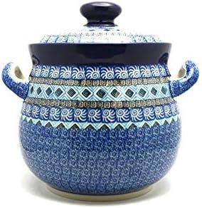 Polish Pottery Cream /& Sugar Set with Sugar Spoon Aztec Sky
