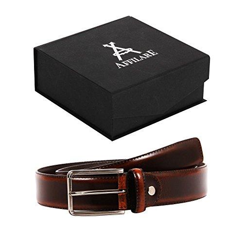 33-34 Affilare Men's Genuine Italian Leather Dress Belt 35mm Brown 12BS653BR from Affilare