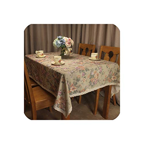 Tablecloth Pastoral Spring Summer Flowers Table Cover for Dining Tables Lace Decorative Tea Coffee Table Cloth,140x200cm -