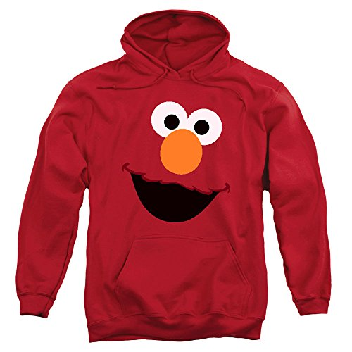 Sesame Street Elmo Face Pull-Over Hoodie Sweatshirt (Medium)