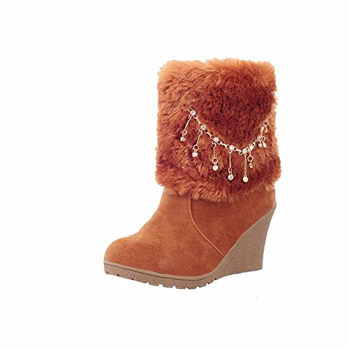 AllhqFashion Womens Frosted Low Top Solid Pull On High Heels Boots Brown rDi3yXN5Iu