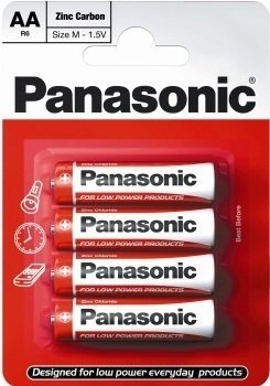Panasonic- Aa Pack Of 4 Zinc Carbon Batteries ()