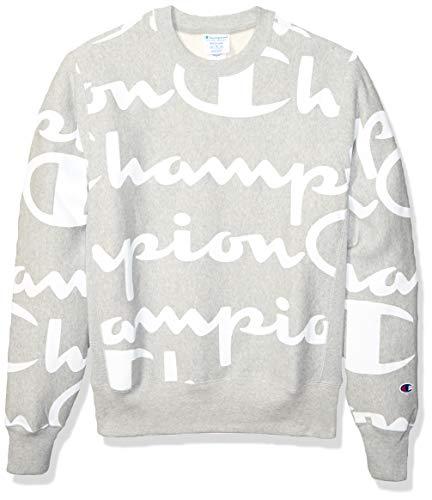 - Champion LIFE Men's Reverse Weave Crew-Print, Giant CHP Script Oxford Grey, Medium