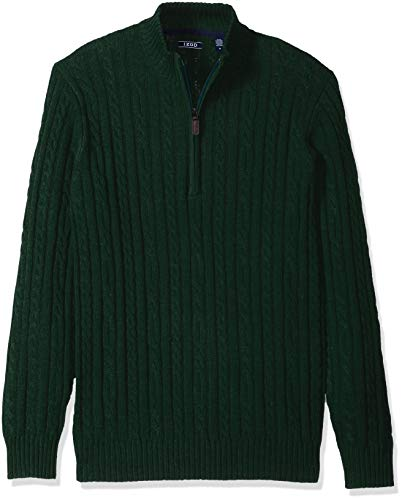 IZOD Men's Premium Essentials Solid Quarter Zip 7 Gauge Cable Knit Sweater, Botanical Garden, Large (Knit Mens Sweater)