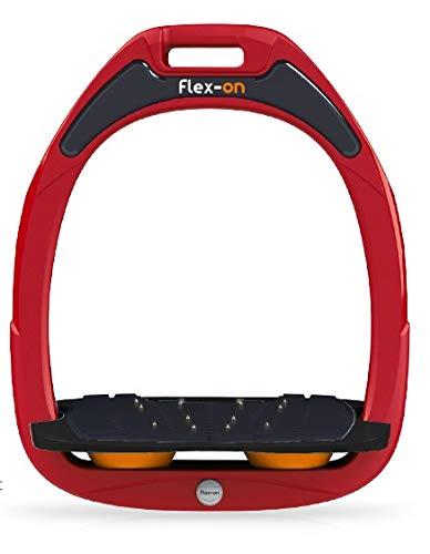 【 限定】フレクソン(Flex-On) 鐙 ガンマセーフオン GAMME SAFE-ON Mixed ultra-grip フレームカラー: レッド フットベッドカラー: ブラック エラストマー: オレンジ 07835   B07KMPZZYT
