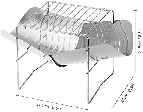 Leepesx 2-en-1 Portable Pliant en Acier Inoxydable Barbecue Grill Camp Firepit Camping en Plein air Backpakcing Poêle à Bois