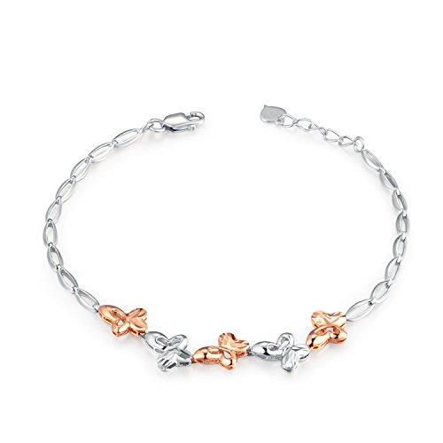 """Italien or blanc 14 carats et diamant Rose Taille cinq découpe en forme de Papillon (6,5 """")-Bracelet Bijoux Cadeau de Saint-Valentin"""
