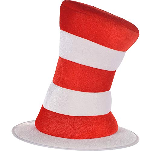 Funny Male Halloween Costumes Diy (Costumes USA Dr. Seuss Cat in the Hat Top Hat for Adults, Halloween Costume Accessories, 12 1/2