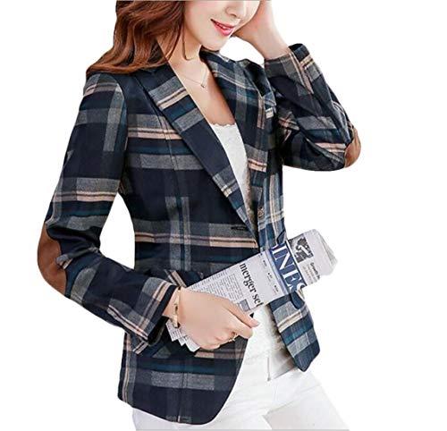 SELX Women Elbow Patch Casual Pockets Plaid Print Notch Lapel Blazer Coat Blue US M