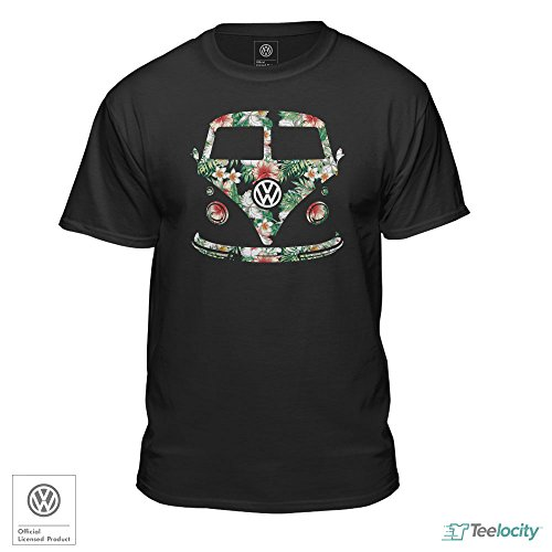 Volkswagen VW Bus Van Floral Design Black Fitted T-Shirt (Medium)
