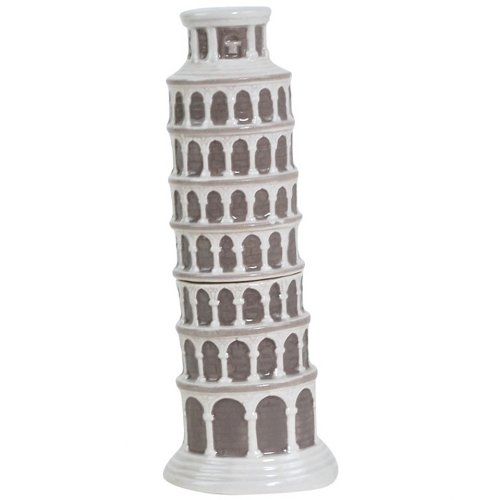 (Westland Giftware Magnetic Ceramic Salt and Pepper Shaker Set, Mwah Leaning Tower of Pisa, 5-Inch, Set of 2)