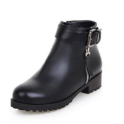 AllhqFashion Mujeres Material Suave Puntera Redonda Sólido Caña Baja Mini Tacón Botas Negro