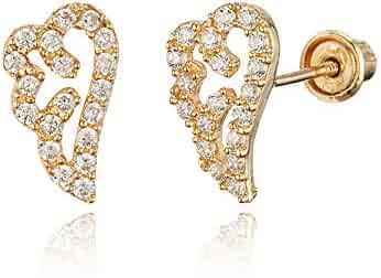 2207c86a5 14k Yellow Gold Guardian Angel Wing Cubic Zirconia Children Screwback Baby  Girls Earrings