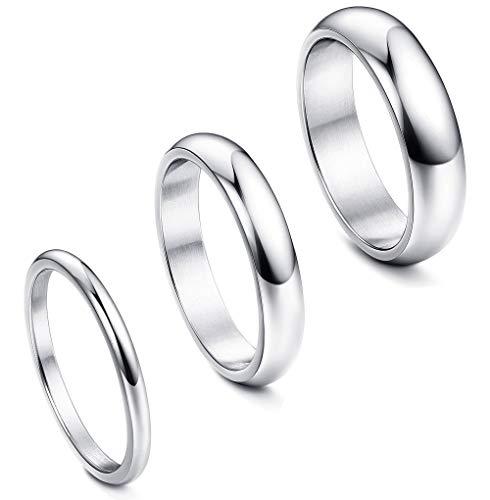 FIBO STEEL 3 Pcs 2 4 6MM Stainless Steel Wedding Band Ring for Men Women Engagement Promise Ring Set Size 9 ()