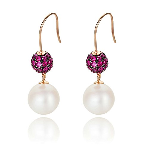 Beydodo Dangle Earrings for Women 18k Real Gold Round Ruby Real White Pearl Earrings Rose Gold Earrings by Beydodo