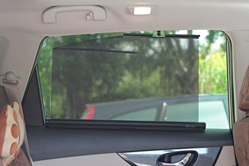 retractable side window shades type b  two shades  22 inches wide  fit rear side windows with