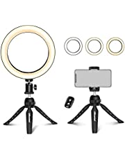 """UBeesize 8"""" Tabletop Ring Light with Mini Tripod Stand & Cell Phone Holder for Live Stream/Makeup, Mini Led Camera Ringlight for YouTube Video/Photography Compatible with iPhone Xs Max XR Android"""
