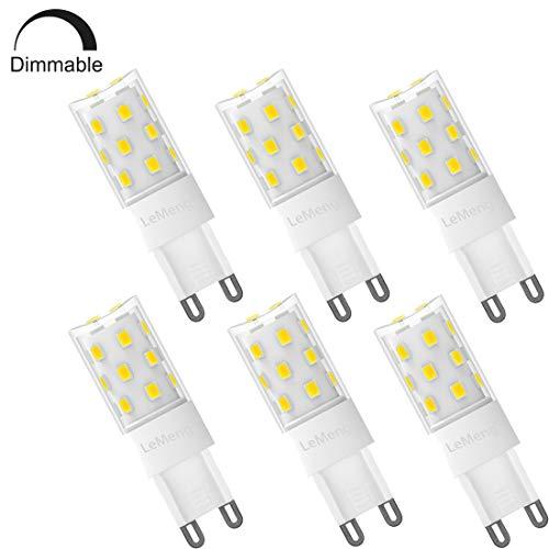 - LeMeng Dimmable G9 LED Bulb 5W 500Lm 6000K Daylight White (AC 120V, ETL-listed)40-50Watts Halogen Equivalent Bi-Pin G9 Lights for Chandelier, Pendant, Bathroom Vanity, Sconce Wall Light - 6 Pack