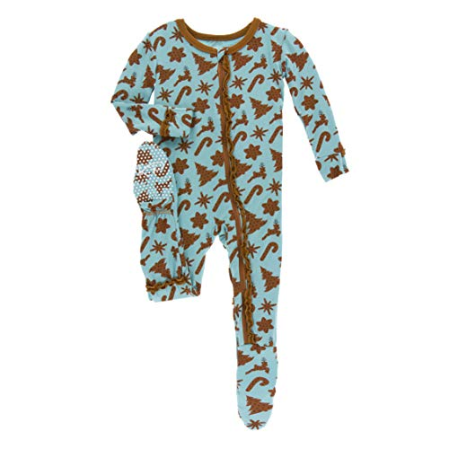Kickee Pants Little Girls Holiday Print Muffin Ruffle Footie with Zipper - Christmas Cookies, 3-6 Months