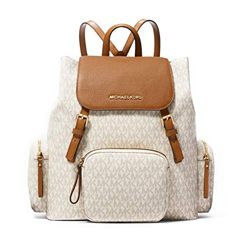 Michael Kors Abbey Large Signature Cargo Backpack (Vanilla/Acorn)
