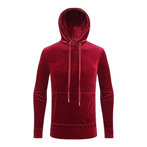 (ONCEGALA Solid Fashion Mens Velour Tracksuit Suits Velvet Hoodie (XL, red))