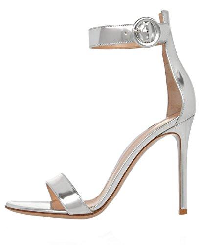 uBeauty,Damen Stiletto Knöchelriemchen Open Toe Sandalen,Ankle Buckle Strap,120mm Mit der Heel Silber Lackleder