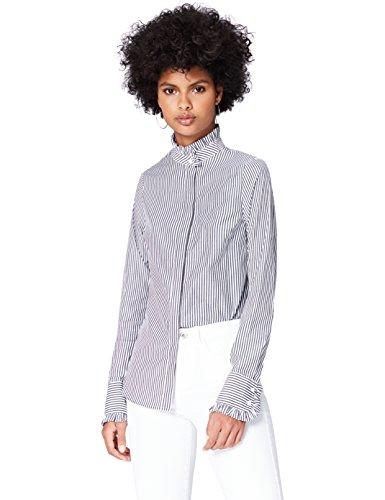 FIND Camicia a Righe con Collo Alto Donna Nero (Black Stripe)