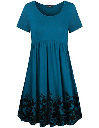 FANSIC Women Casual Printed Floral Dress,Flowy Short Sleeve Summer Dresses ()