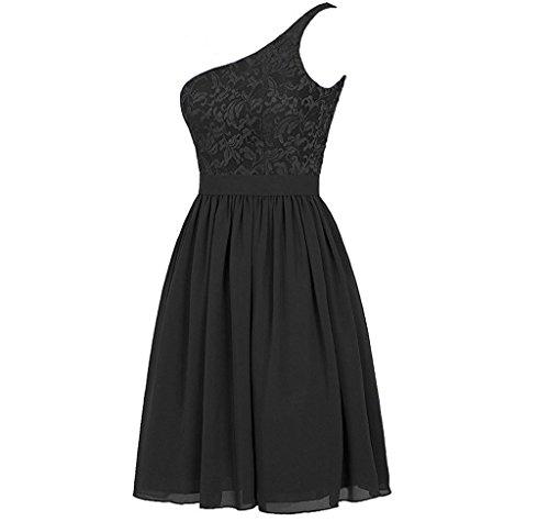 Robes De Demoiselle D'honneur Coloredress Couleur Dentelle E Une Épaule Robe Des Femmes De Robes De Soirée Noire