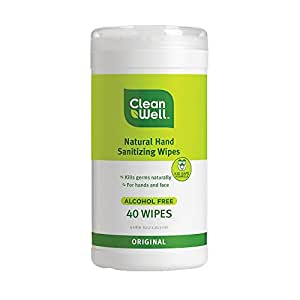 CleanWell Natural Hand Sanitizing Wipes Canister; 40 Count -  Original Scent