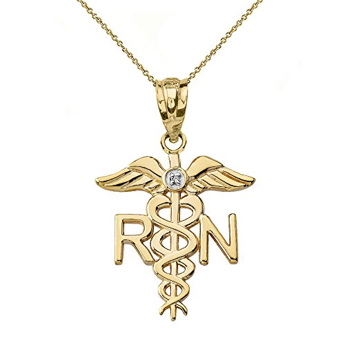 14k Yellow Gold Solitaire Diamond Caduceus RN Charm Registered Nurse Necklace, 20