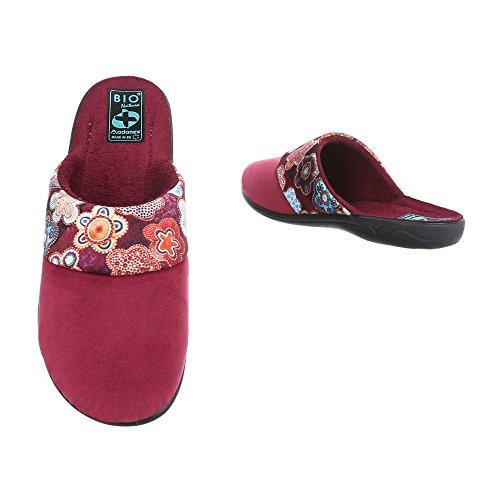 Schuhcity24 Damen Schuhe Freizeitschuhe Hausschuhe Pantoffel Weinrot