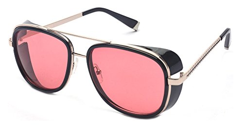 Outray Iron Man Tony Men Women Cover Side Shield Square Sunglasses A15 Red]()