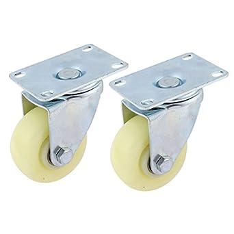 eDealMax 2pcs plástico de 360 grados ruedas de Metal de la placa Superior giratoria