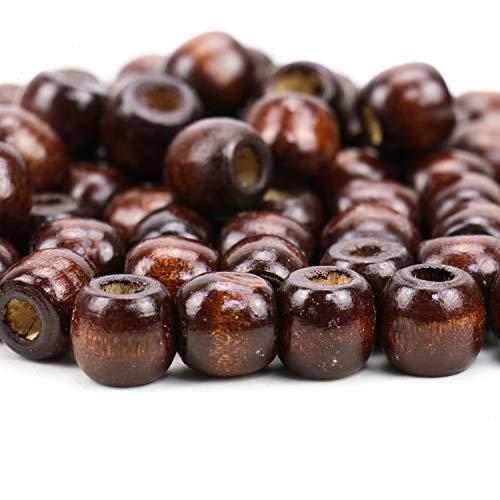 JETEHO 500PCS Dark Coffee Brown Wood Bead, 1112mm, Natural Wooden Spacer - Wood Natural Coffee Brown